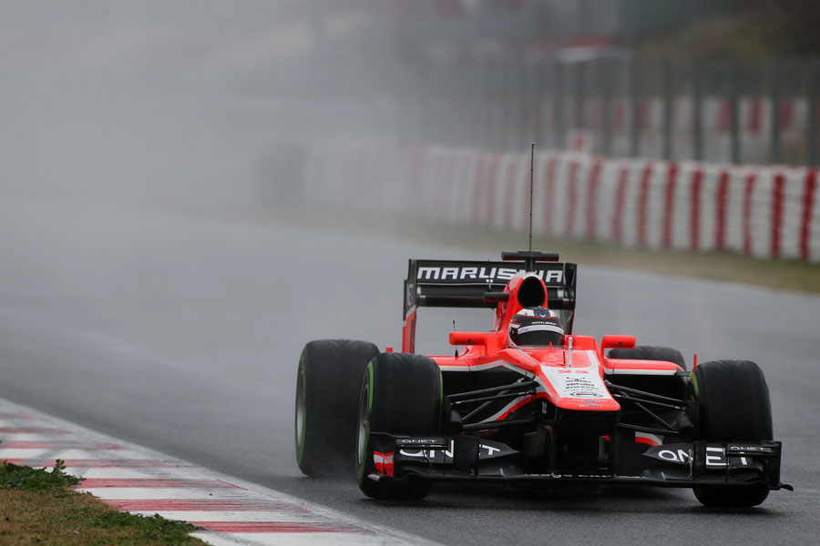 Max Chilton brakes for turn ten in the wet