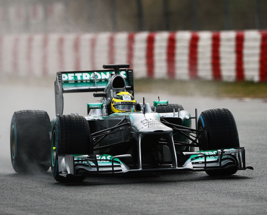 Nico Rosberg on track in the Mercedes