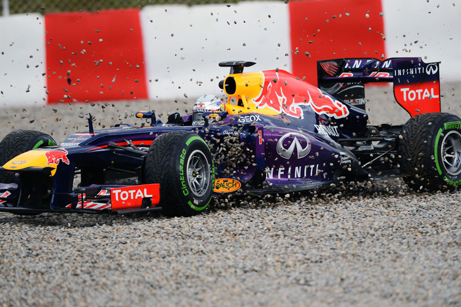 Sebastian Vettel in the gravel