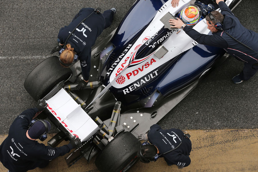 The rear of the Williams as it is rolled back into the garage