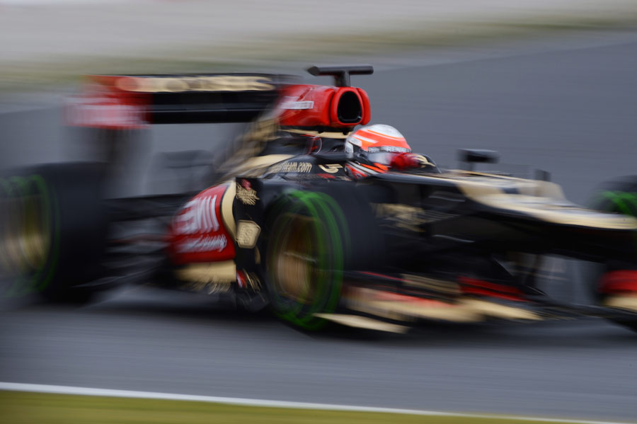 Romain Grosjean on track in the Lotus E21