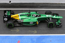 The Caterham CT03 of Giedo van der Garde leaves the pitlane