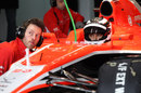 Max Chilton speaks to a Marussia engineer