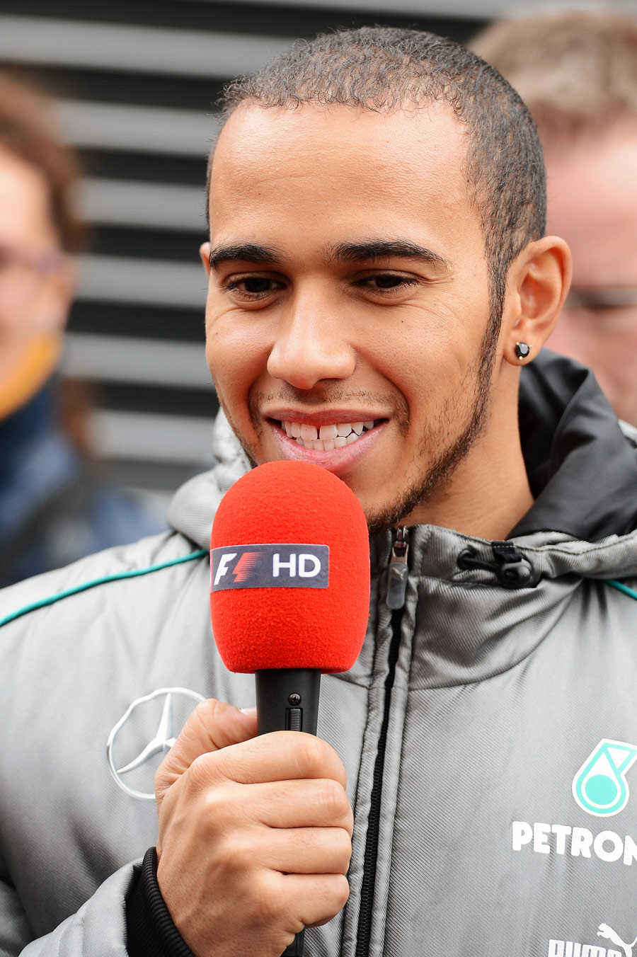 Lewis Hamilton speaks to the media