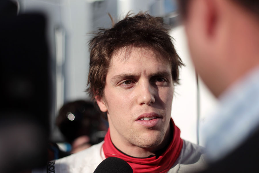 Luiz Razia talks to the press after his Marussia debut
