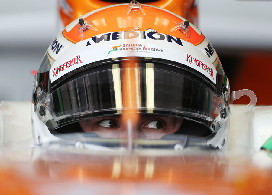 Adrian Sutil in the cockpit of the Force India