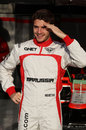 Jules Bianchi poses for a photo ahead of his first day in the Marussia