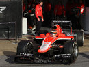 Jules Bianchi leaves the pits on his first day as a Marussia driver
