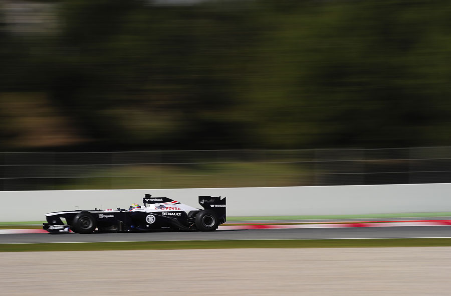Pastor Maldonado at speed in the updated FW35