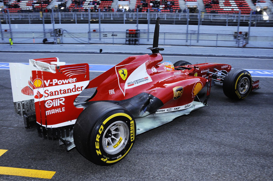 The rear of the Ferrari dowsed in aero paint