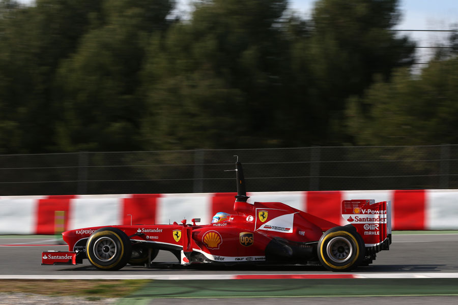 Fernando Alonso at speed in the Ferrari