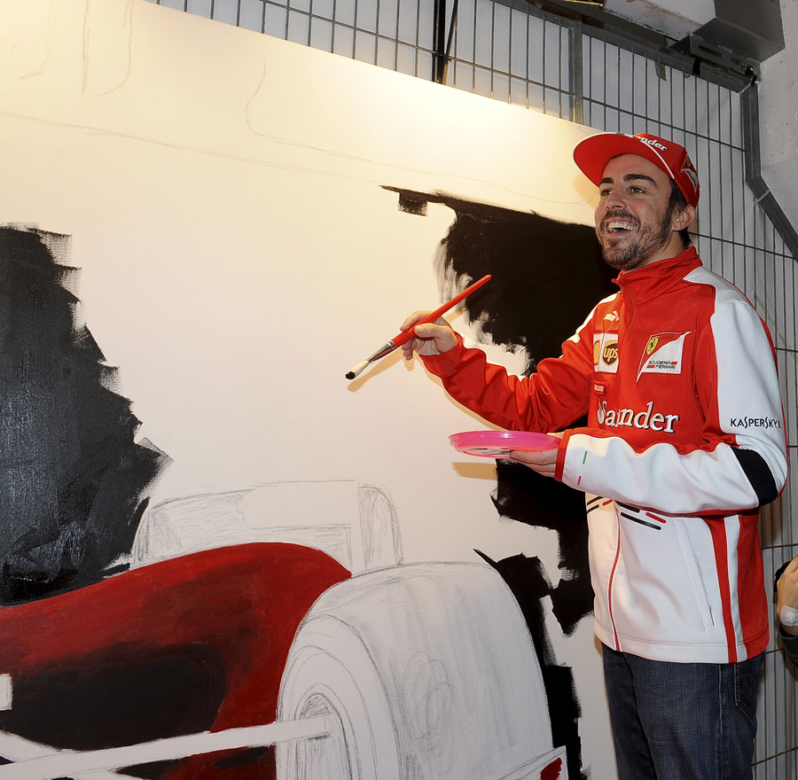 Fernando Alonso takes part in a Ferrari media day