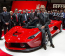 Ferrari president Luca di Montezmolo poses with new LaFerrari road car