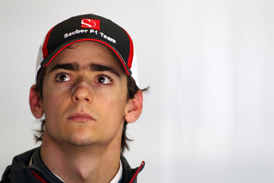 Esteban Gutierrez in the Sauber garage