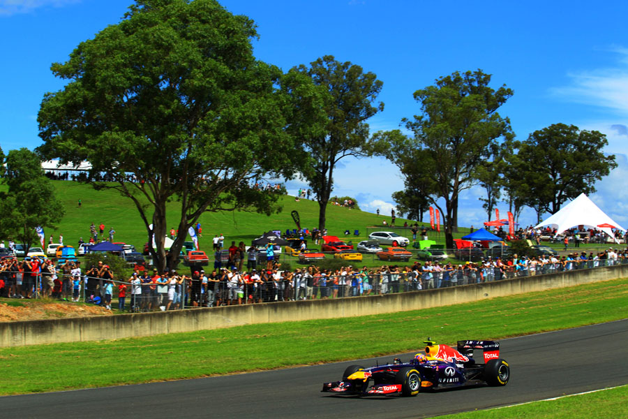 Mark Webber on track at Sydney Motorsport Park