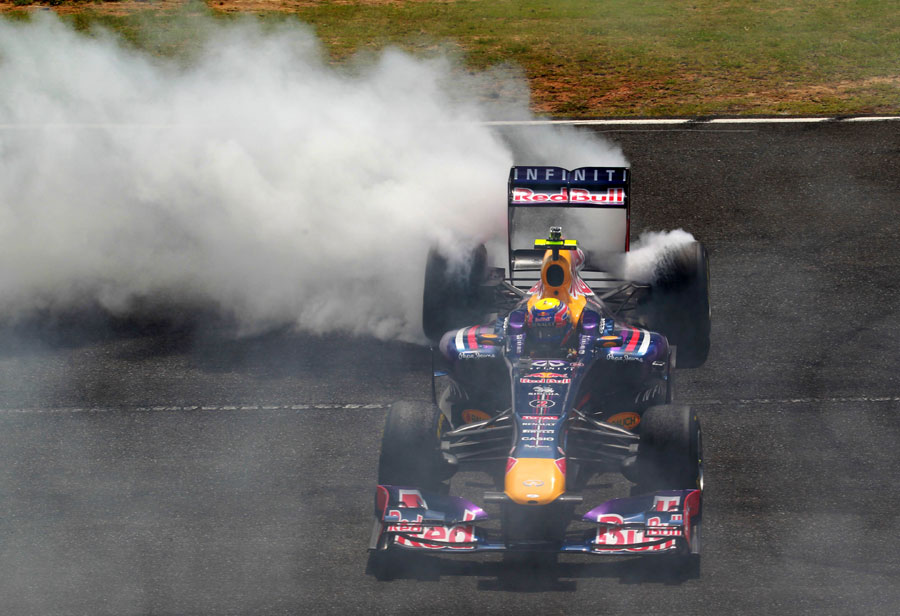 Mark Webber entertains the crowd at Sydney Motorsport Park