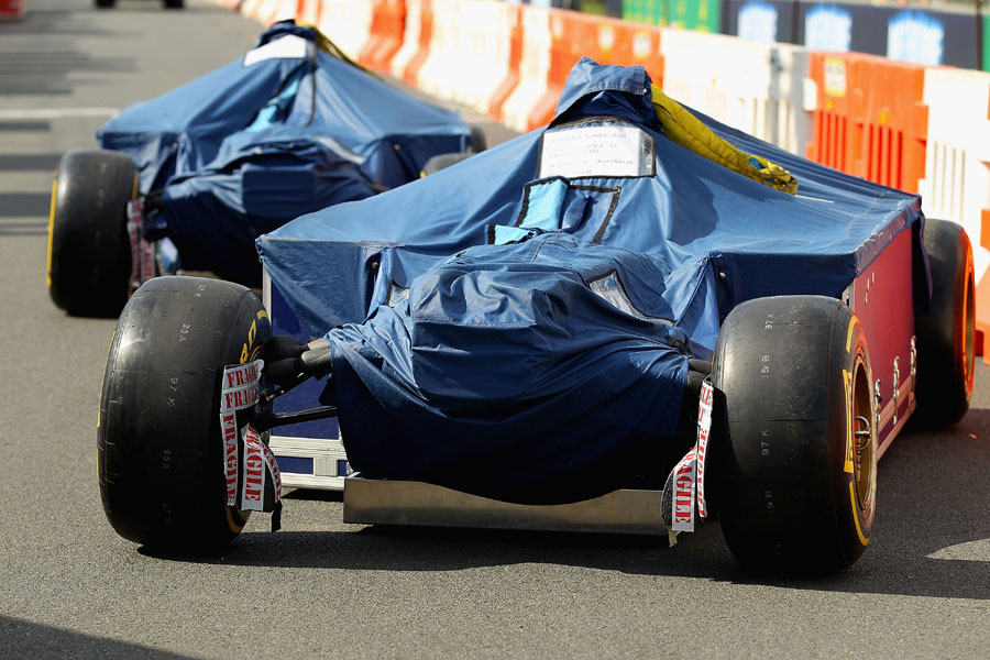 Daniel Ricciardo's car is unloaded into the pit lane at Albert Park