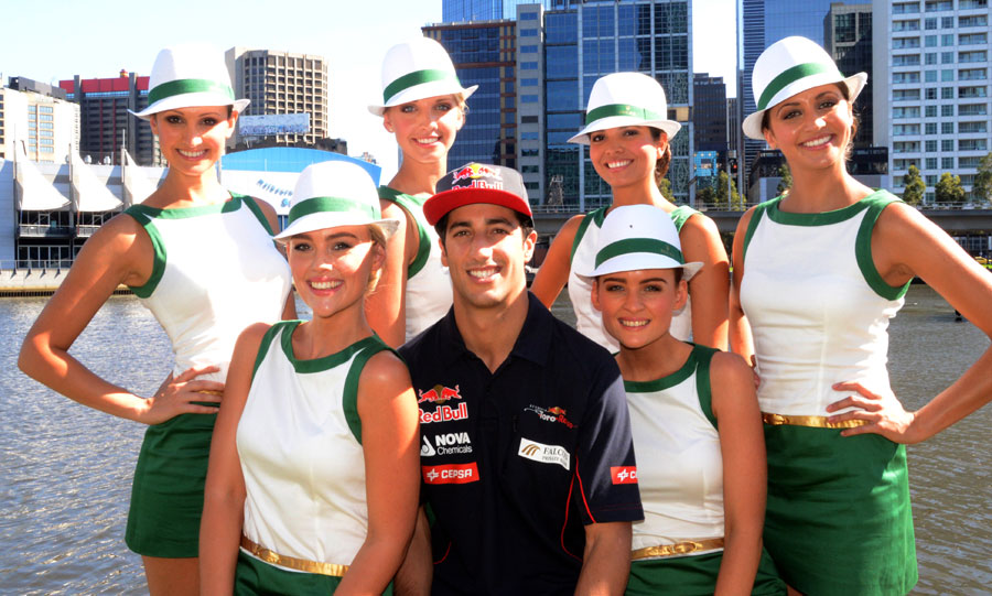 Daniel Ricciardo  with the Rolex Grid girls