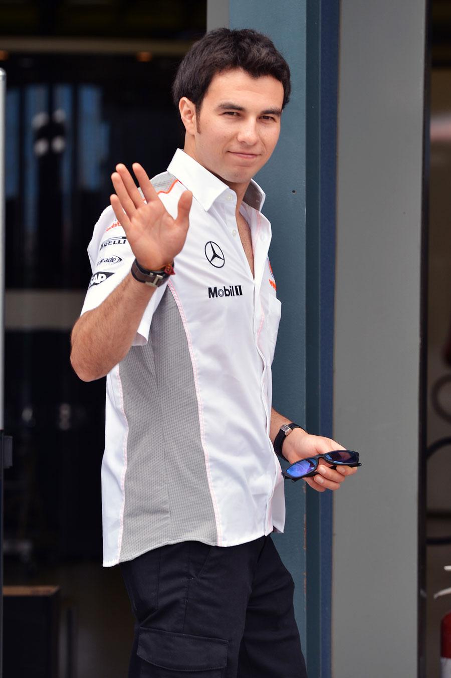 Sergio Perez in the paddock