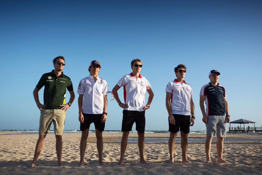 The five new rookies line up on the beach ahead of their grand prix debuts