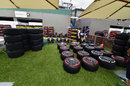 Pirelli tyres in the Williams area of the paddock