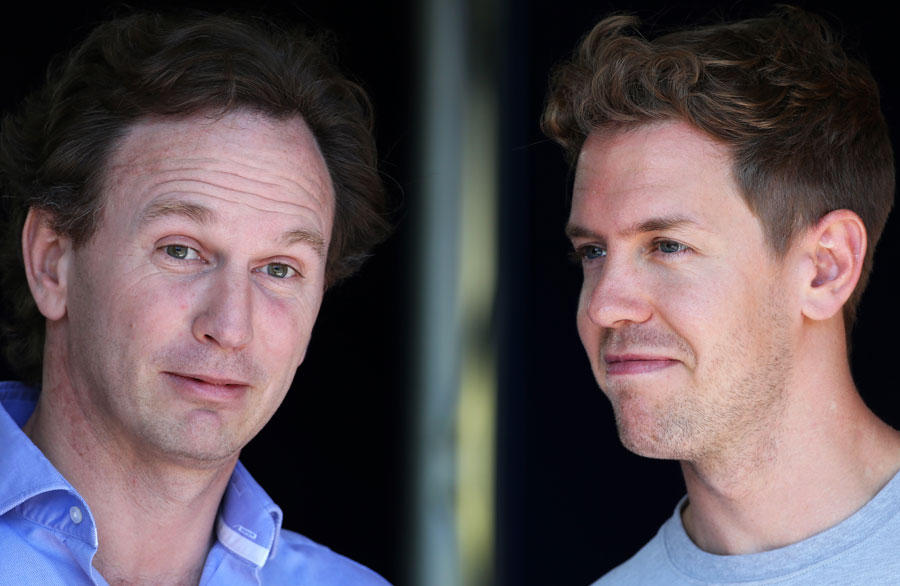 Christian Horner chats with Sebastian Vettel on Thursday