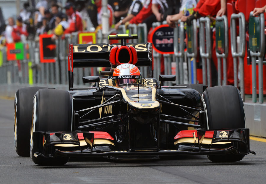 Romain Grosjean heads out of the pits