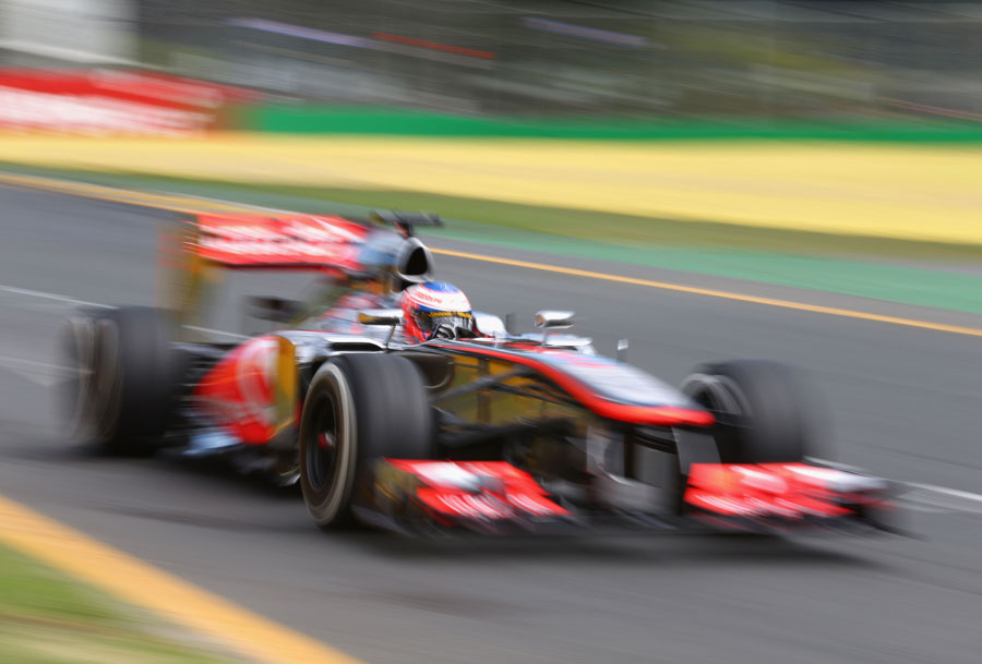 Jenson Button out on track during FP1