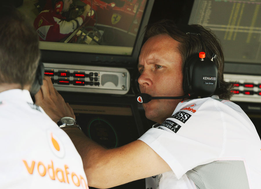 Sam Michael on the McLaren pit wall