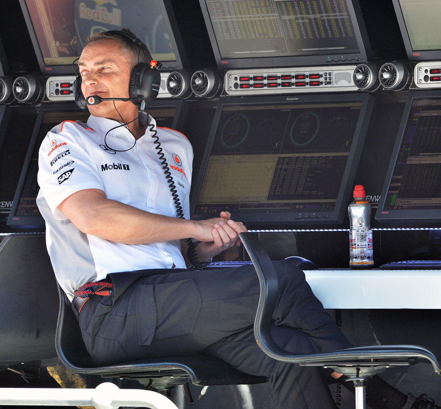 A pensive Martin Whitmarsh watches the practice session