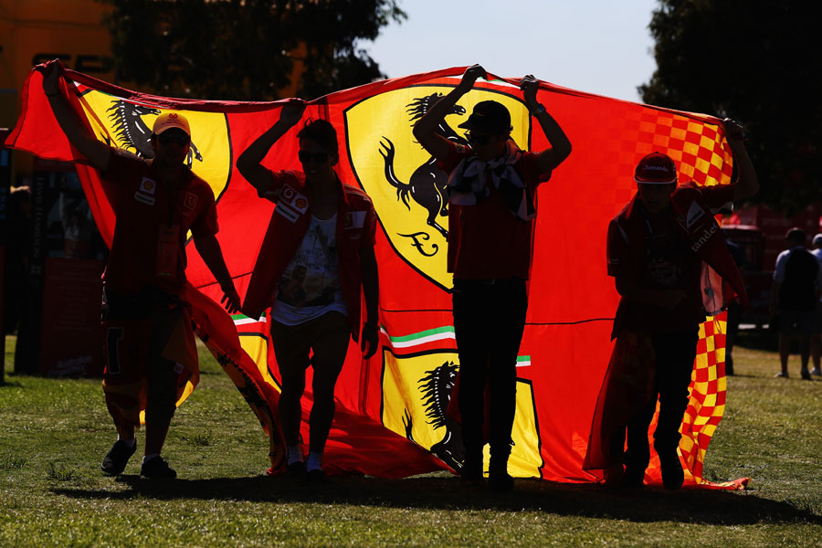 Ferrari fans arrive at Albert Park