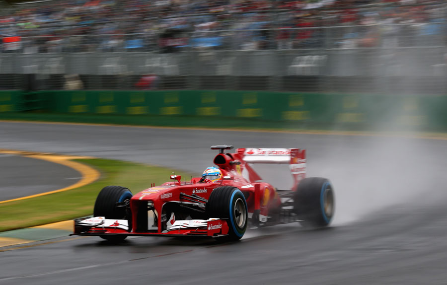 Fernando Alonso at speed through the final corner