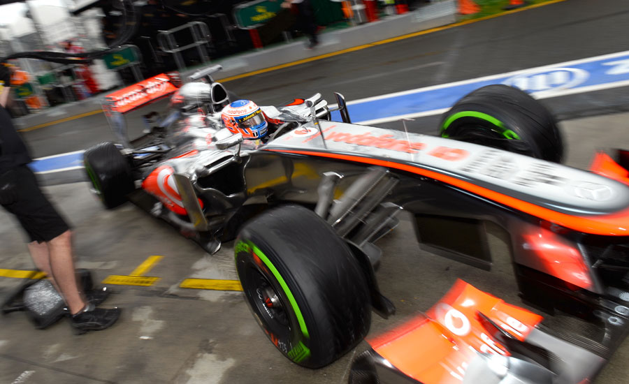 Jenson Button pits during FP3