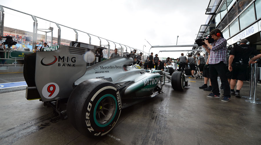 Nico Rosberg prepares to head out of the pit lane