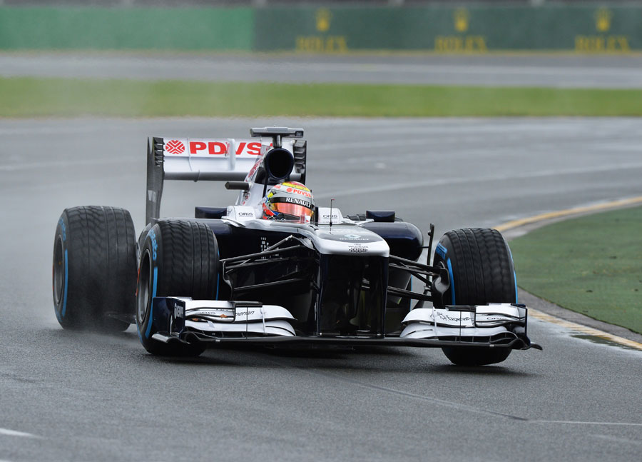 Pastor Maldonado on track in the wet