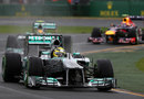 Nico Rosberg leads Lewis Hamilton and Mark Webber on track