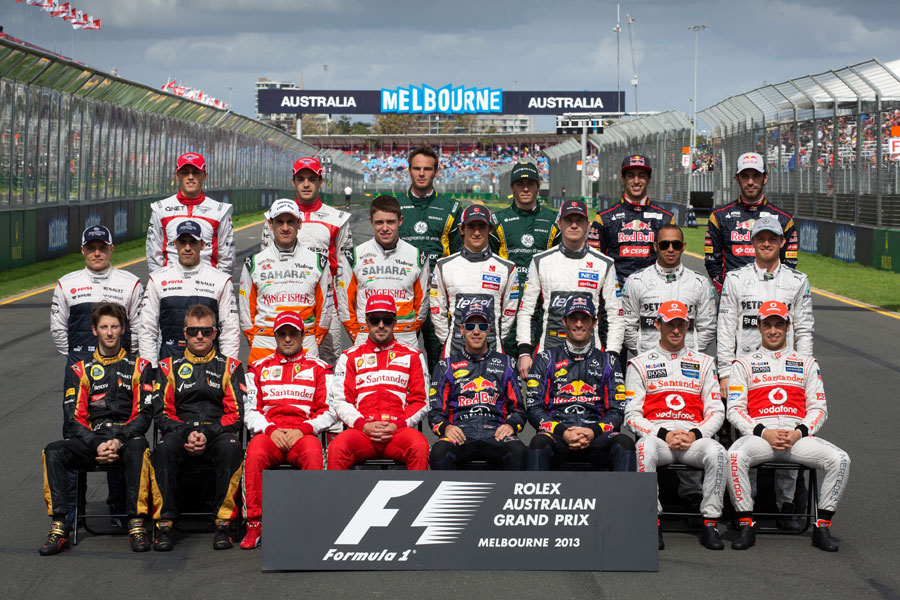 Drivers pose for the traditional pre-season group shot