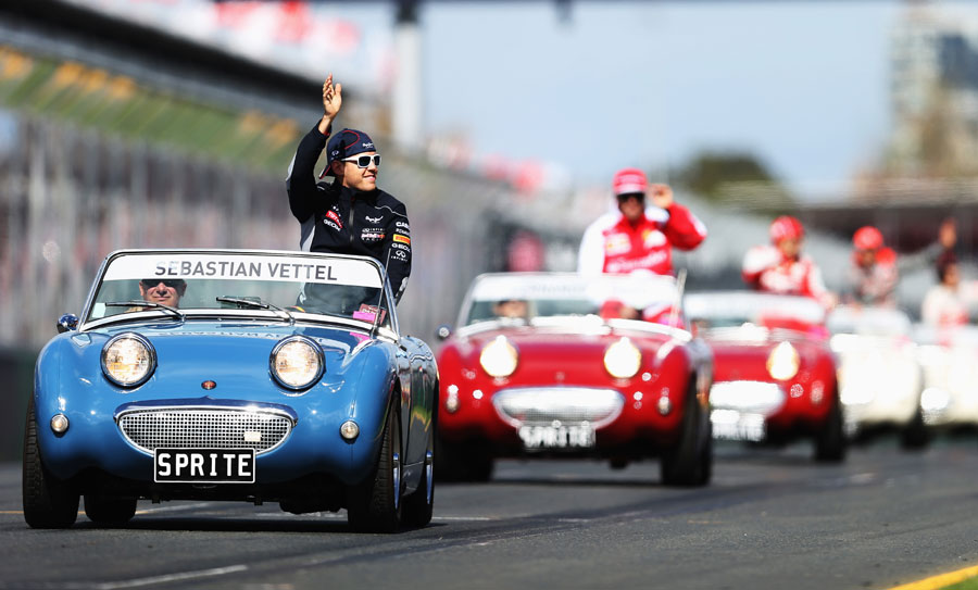 Sebastian Vettel leads the drivers' parade