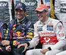Jenson Button gets friendly with Mark Webber