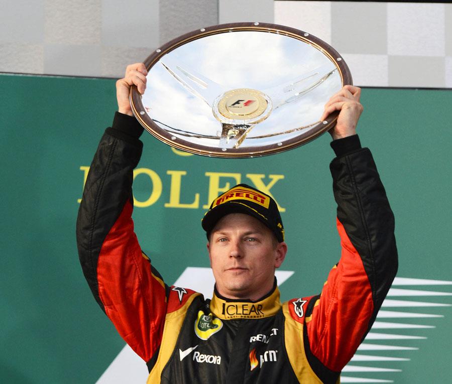Kimi Raikkonen celebrates victory in Melbourne