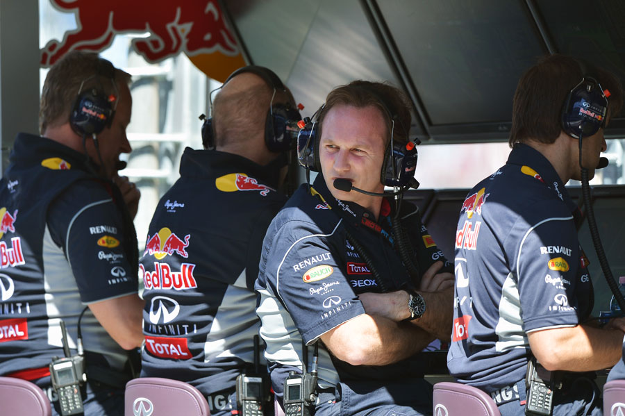 Christian Horner with a concerned look on the Red Bull pit wall