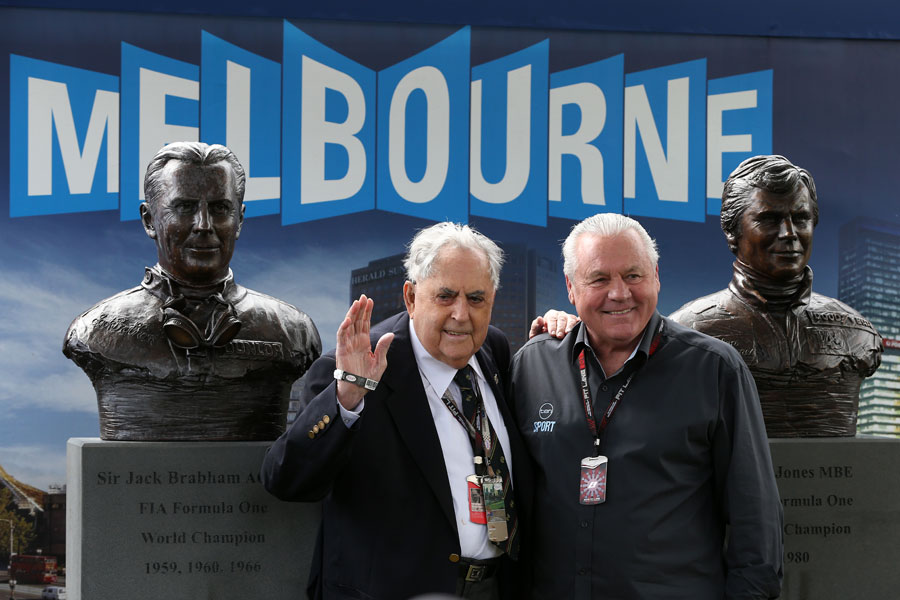 Alan Jones and Sir Jack Brabham have bronze busts unveiled