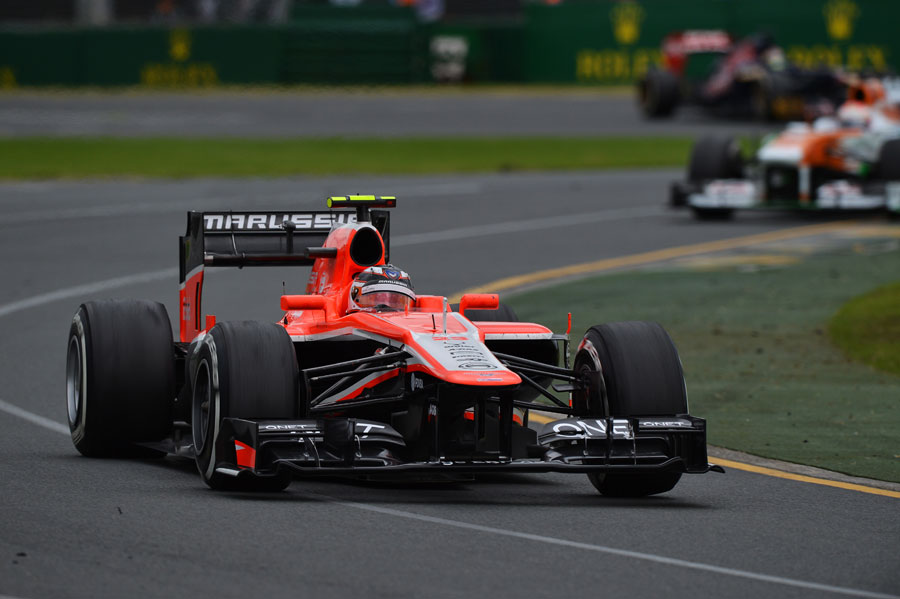 Jules Bianchi gets the power down out of turn two