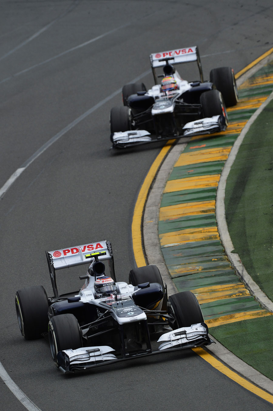 Valtteri Bottas leads team-mate Pastor Maldonado