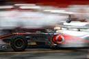 Lewis Hamilton pits in the McLaren