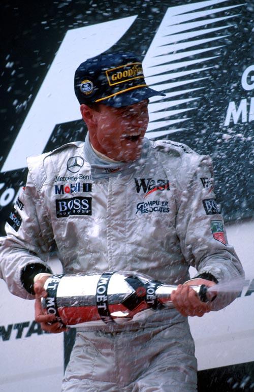 David Coulthard celebrates his win in Australia