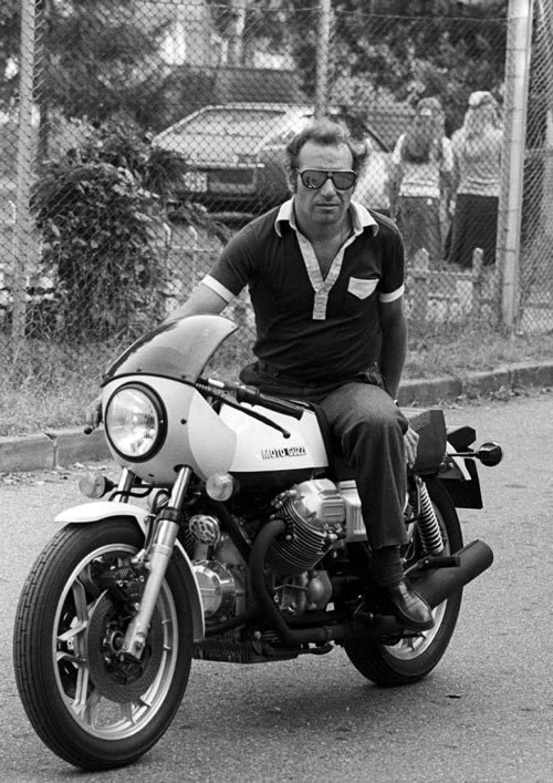 Monza resident Vittorio Brambilla arrives at the circuit