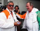 Vijay Mallya and Ian Phillips celebrate Force India's pole position