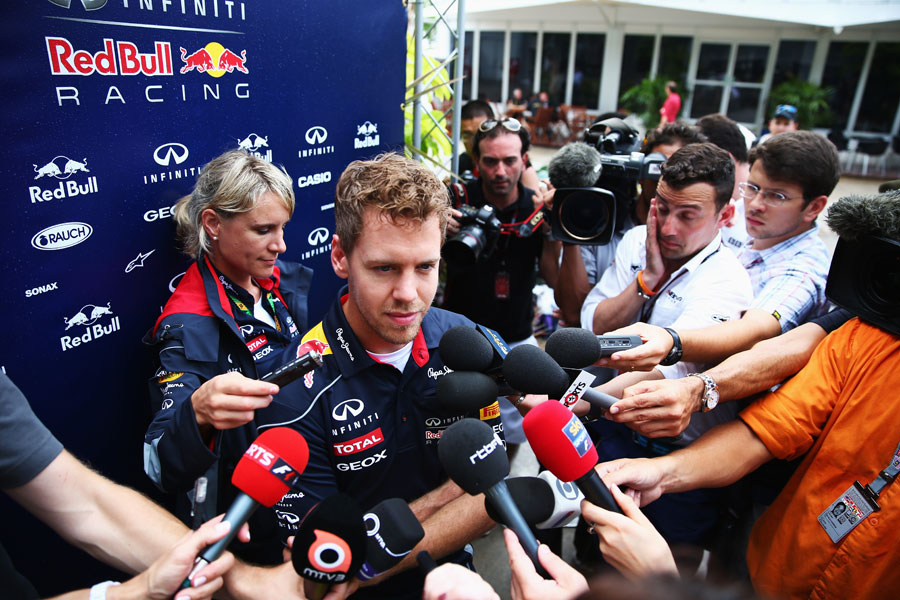 Sebastian Vettel faces the media on Thursday