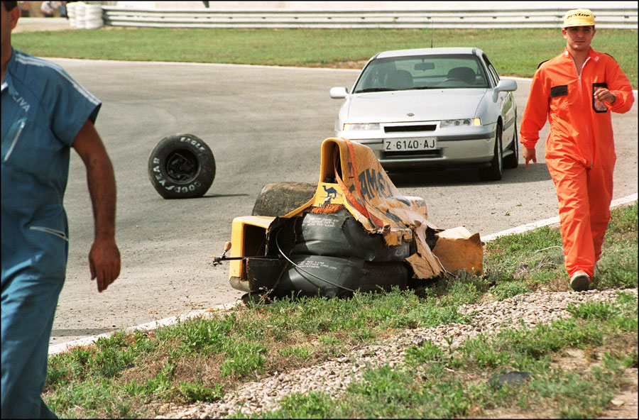 The rear of Martin Donnelly's wrecked Lotus after his crash in qualifying